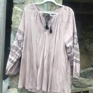 NWT Lucky Brand boho loose tunic blouse breathable